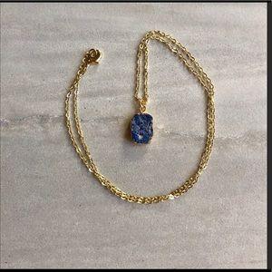 1 Raw Sodalite Stone 18k Gold Boho Necklace NWOT